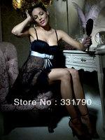 Free Shipping 613989 sleepwear women sexy black lace dress lingerie top quality wholesale