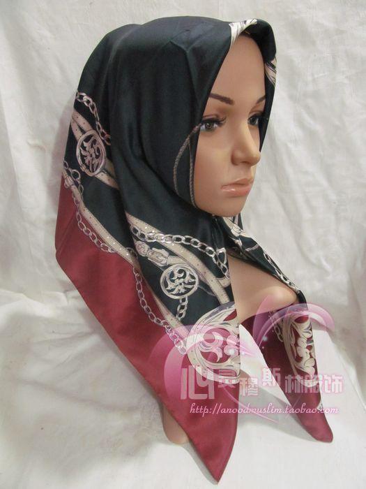 Tf035 wire satin fabric 90cm print large facecloth muslim bandanas(China (Mainland))