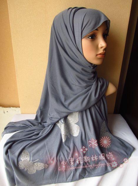 Tc259 hanbu stretch cotton muslim bandanas plain pattern scarf hijab multicolor(China (Mainland))