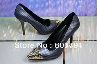 2014 New Spring Shoes Brand Louis Black Cow Leather Heels Shoes Studs High Heel Women Dress Shoes