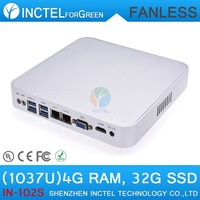 Best Fanless Ultra-MiniPCs Celeron Performance PC C1037U 1.8Ghz with 2 RJ45 USB 3.0 TF SD Card 4G RAM 32G SSD full alluminum