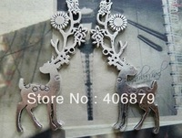 Min. order is $8(mix order) 5pcs 36*74mm Vintage Antique Silver Deer Charm Pendant  Free Shipping B353