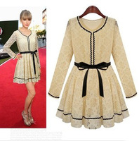 Free shipping new 2014 hot sexy Halter sequined dresses sexy lace evening dress Retro hit color brand lace dress
