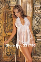 Free Shipping 609139 adult women sexy white lingerie with lace top quality