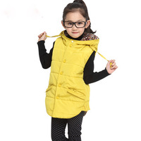 New arrival children clothing winter girl leisure pute color hooded vest thickening vest free shipping