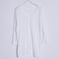 High quality 100% cotton comfortable white o-neck long design short-sleeve lounge sleepwear top t-shirt 185