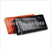 2014 Fashion brand long design genuine leather women's wallets zipper wallet card folder day clutch female Large capacity