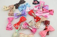 Trail order baby girl handmade Grosgrain Ribbon bow BB clip princess DIY mix color wedding hairpin hair accessories 80pcs/lot