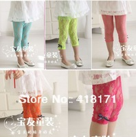 Wholesale Children's Clothing Summer Lace Hollowed-out Leggings Multi-color Knee-length Kids Dance Pants for Summer 5pcs/lot