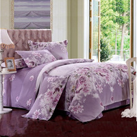 Free Shipping Specials leaves textile special new green cotton bedding set cotton bedding love flowers - purple