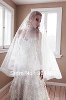 Long Wedding Veils 2 T Tulle  Organza Edge Bridal Veil Ivory White Fingertip Simple Wedding Mantilla Veil Bridal Veils V143
