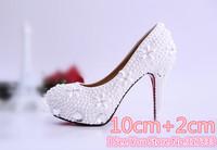1407 Promotion! Genuine Leather Rhinestone Pearl Women's Wedding High Heels Size37-39