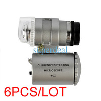 6PCS/LOT Mini Microscope 60X Zoom LED Cellphone Mobile Phone Microscope Micro Lens For iphone 4S TK0052