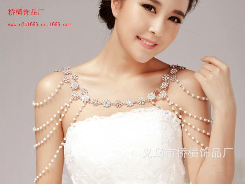 A072 Elegant Rhinestone shoulder chain Crystal bridal hair Jewelry Wedding Bride Party B54