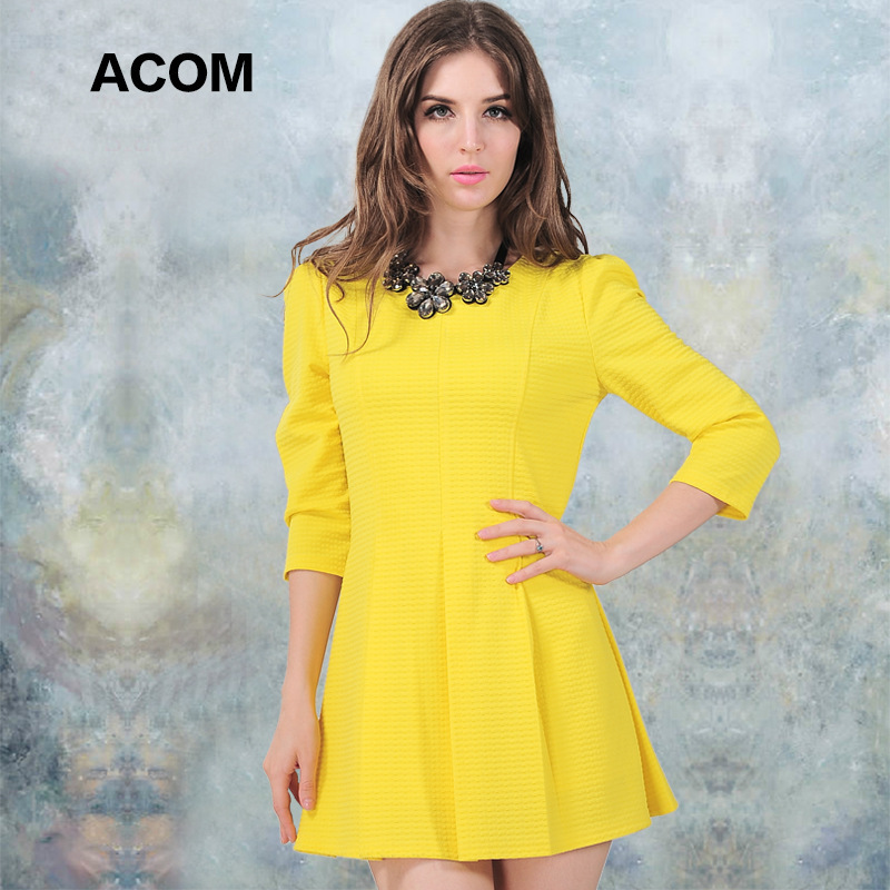 2014 autumn women's fashion high quality elegant slim three quarter sleeve o-neck basic one-piece dress black and yellow color(China (Mainland))