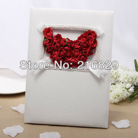 Free Shipping Red Rose Heart Wedding Guest Book with Tri-Fold Blank Pages