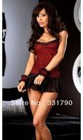 Free Shipping 621978 women cute shot lingerie dress with handcuffs sexy night wear wholesale