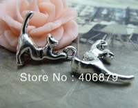Min. order is $8(mix order) 20pcs 5*16*19mm Vintage Antique Silver cat Charm Pendant  Free Shipping B374