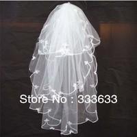 New 2014 Free shipping Wedding Veils Ivory White three layers Tulle Bridal Wedding Veils