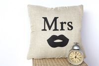 Mr Mrs creative wedding home ornament pillow case cushion cover min1lot/2pcs promotion love gifts