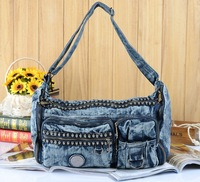 2014 New fashion women's Personality punk skull denim bag jeans handbag denim shoulder bag/Messenger Bag ,freeshipping