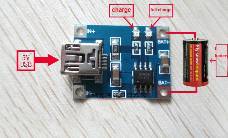 5v lithium-batterie laden tp4056 Brett 5 volt mini usb 1a ladegerät modul diy(China (Mainland))