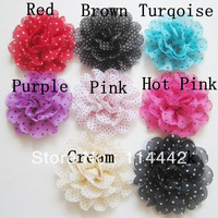 Free Shipping 40pcs / lot 8 color baby girls DIY Chiffon dot  flowers for Head Flower Hair accessory Flat back