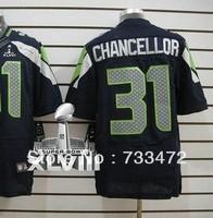 2014 Super Bowl Patch Men Elite Cheap  Seattle Football Jerseys 31 Kam Chancellor Jersey Navy Blue White Wolf Grey Green Color