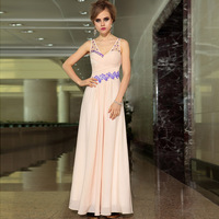 Free shipping Fashion pink transparent shoulder strap V-neck racerback high quality wedding dress bride evening dress