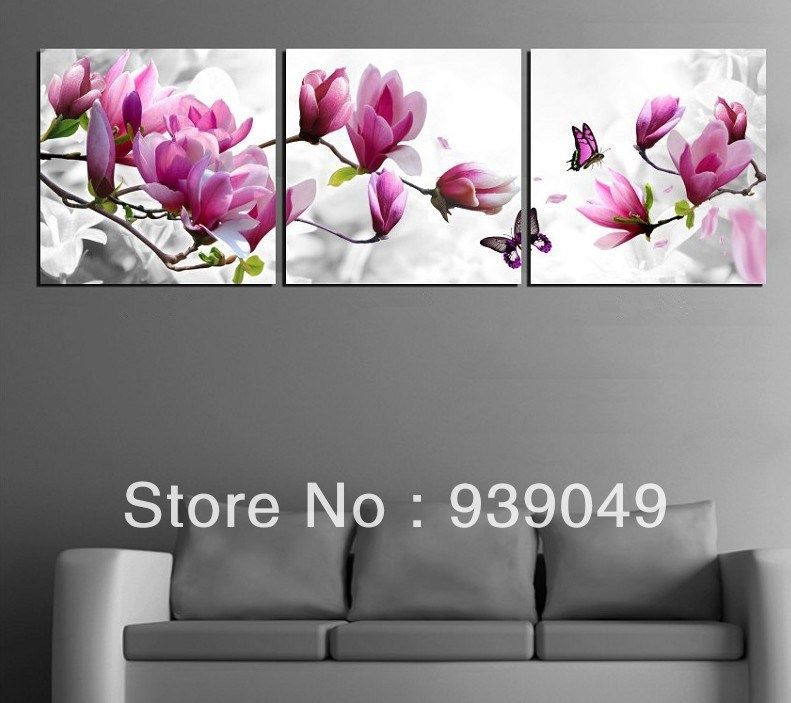 Famous Paintings of Flowers 3 Piece Free Shipping Hot Sell Modern Wall Painting Purple Pink Blue Flower