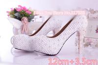 1404 Luxury !Genuine Leather Pearl Rhinestone Women's pumps Wedding High Heels Shoes Size36-39