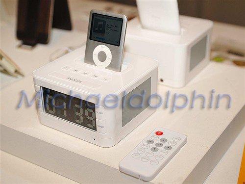LCD Speaker FM Radio & Alarm Clock Charging Dock For IPhone iPod Free Shipping(China (Mainland))