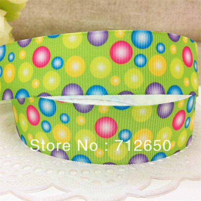 wholesale free shipping 7/8'' 22mm colorful dotted circles printed grosgrain ribbon green printed dots ribbon 10 yards(China (Mainland))