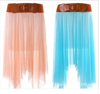 Free Shipping 2014 New Bohemian Chiffon Skirt Long Dress With Belt Irregular Summer High Quality Princess Pleated Skirt 5 Color