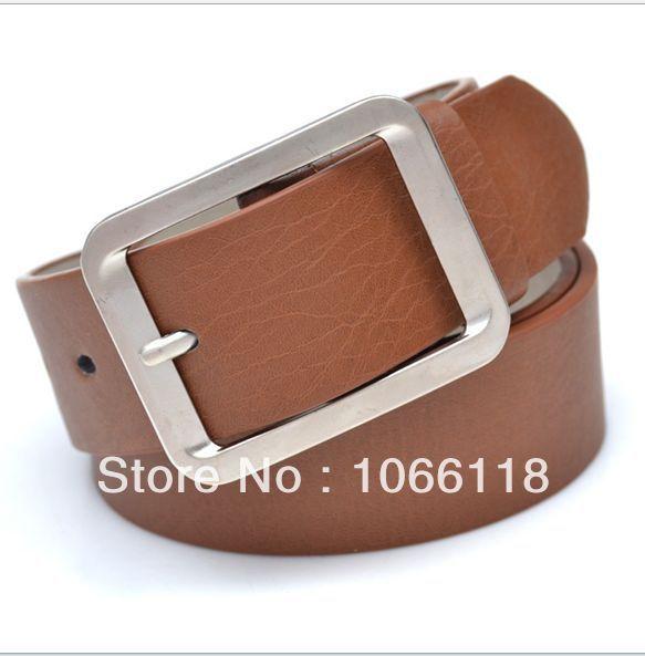 Free Shipping Wholesaler Hot Sale Men's PU Leather Belts Women's Fashion Metal Buckle Waistband Camel(China (Mainland))