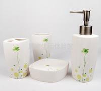 Elegant small flower quality stripe ceramic bathroom four piece set dental tooth cup set