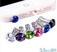 Free Shipping Fashion Glass diamond dust plug, diamond dust plug phone