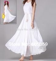 better quality new 2014 women clothing chiffon sleeveless Long dresses elegant slim dress no belt O neck maxi uwc140