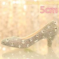1412 Luxury Crystal Rhinestone 5m Female High Heels dance Shoes leather