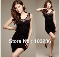 Free shipping Summer Korean version of the new hollow perspective chiffon dress stitching Slim hiped dress