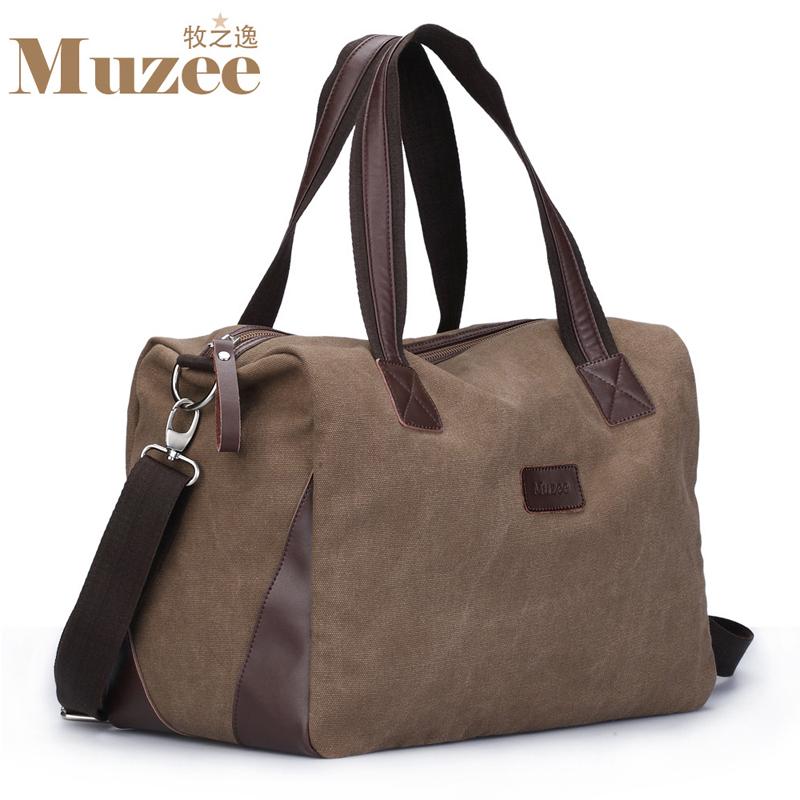 New fashion cotton canvas big travel duffel bags with shoulder belt,