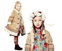 Hot-sale High Quality thick warm winter children outerwear brand girls coat France designer kids coat children embroidery coat
