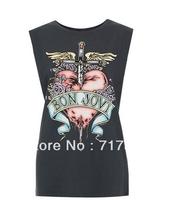 free shipping 2014 new women famous rock band Bon Jovi Bon Jovi print black sleeveless T-shirt cotton blouse tee tops