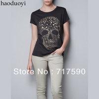 free shipping 2014 new women Diamond Star printing skull bronzing printing black cotton elastic T-shirt cotton blouse tee tops