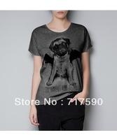 2014 new female new women's spring summer velvet flocking wings bulldog puppy dog T-shirt loose blouers