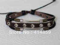422 Men brown leather bracelet Hip hop punk jewelry Friendship bracelet Charm bracelet For boy and man