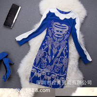 2013 autumn and winter latest European and American big fight embroidered silk mixed colors stretch knit dress high fashion