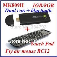 MK809 II+RC12 Android 4.4.2 Mini PC TV Dongle Rockchip RK3066 Cortex A9 Dual core 1GB RAM 8GB Bluetooth MK809II 3D TV Box