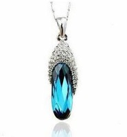 Free shipping 2014 new arrival shiny blue zircon 925 sterling silver ladies pendant necklaces jewelry wholesale 1pcs/lot