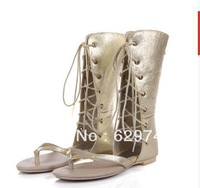 Carlos fashion women genuine leather cowhide cool boots flatsshoes heel flat strap sandals gold women's shoes